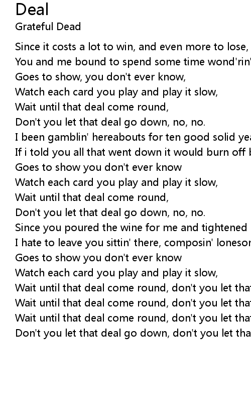 Deal Lyrics
