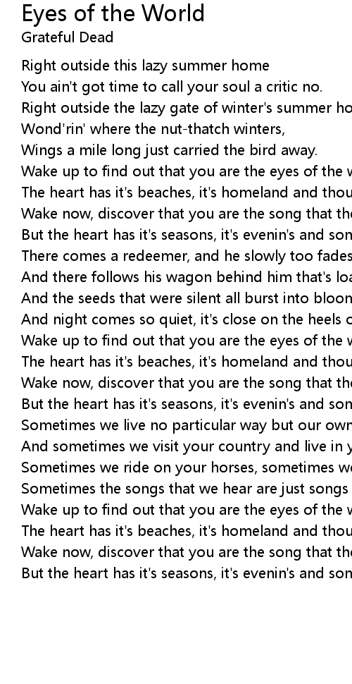 Eyes of the World Lyrics