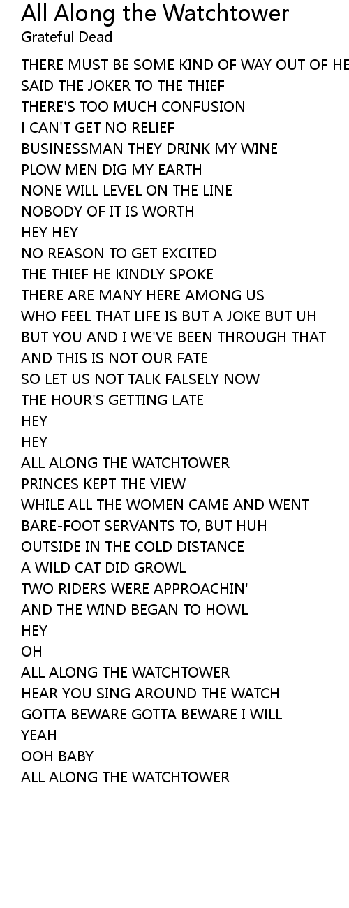 All Along the Watchtower Lyrics