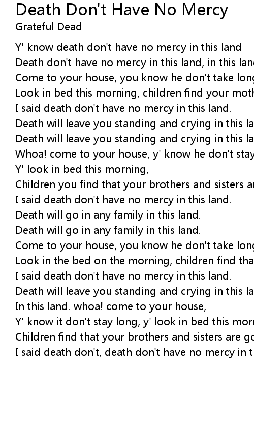 Death Don't Have No Mercy Lyrics