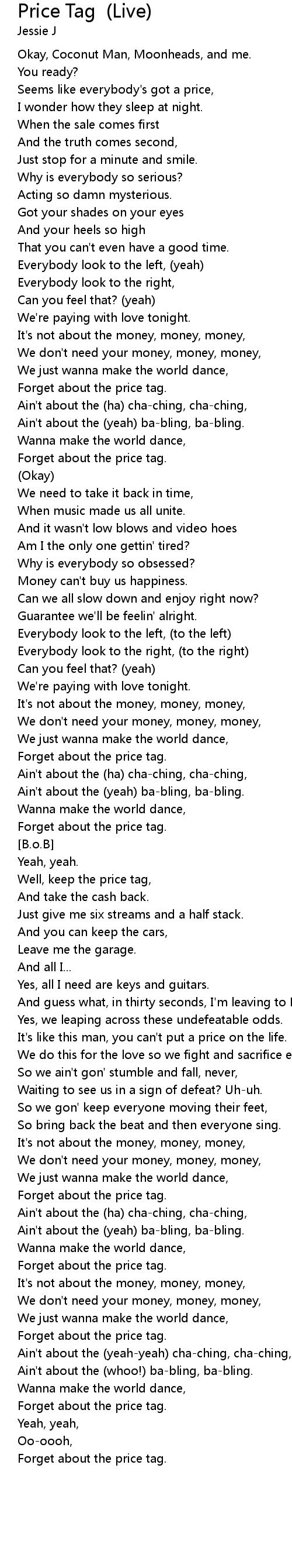 Price Tag Live Lyrics Follow Lyrics