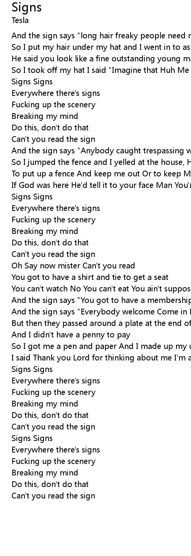 Signs Lyrics Follow Lyrics