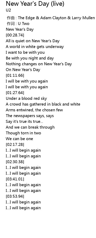 New Year S Day Live Lyrics Follow Lyrics