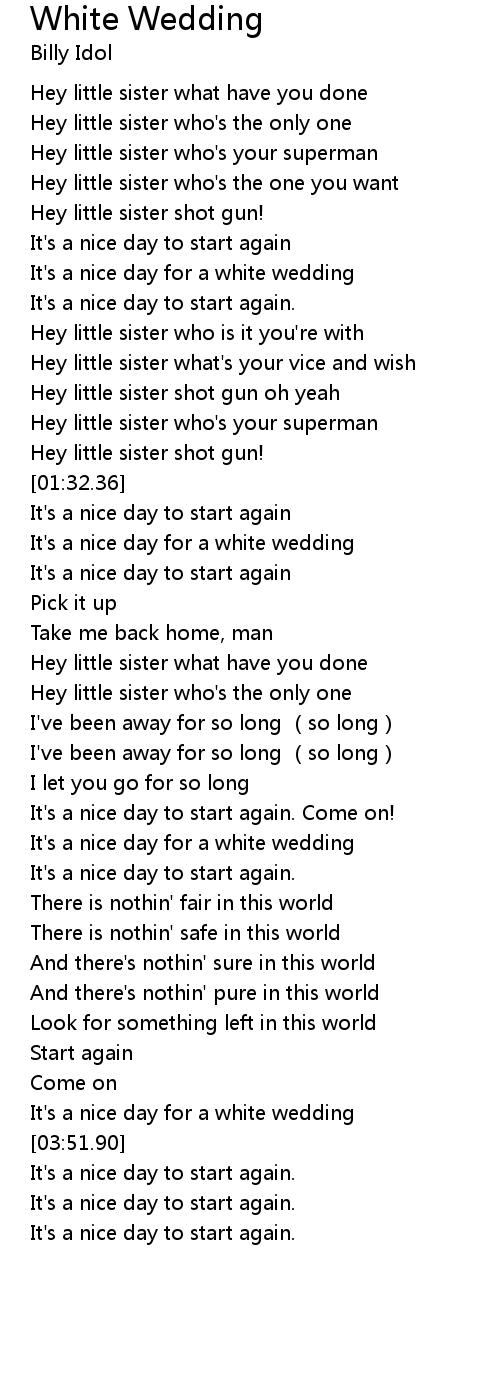 White Wedding Lyrics - Follow Lyrics