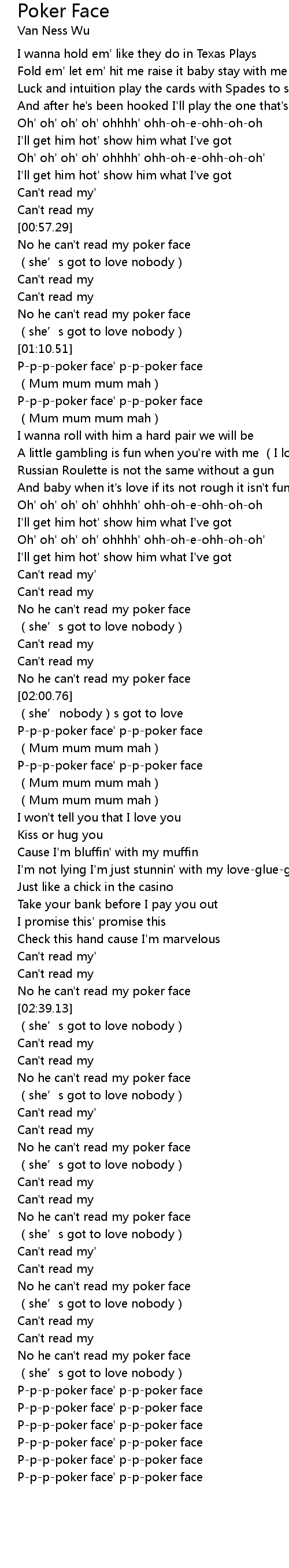 Poker Face Lyrics Follow Lyrics