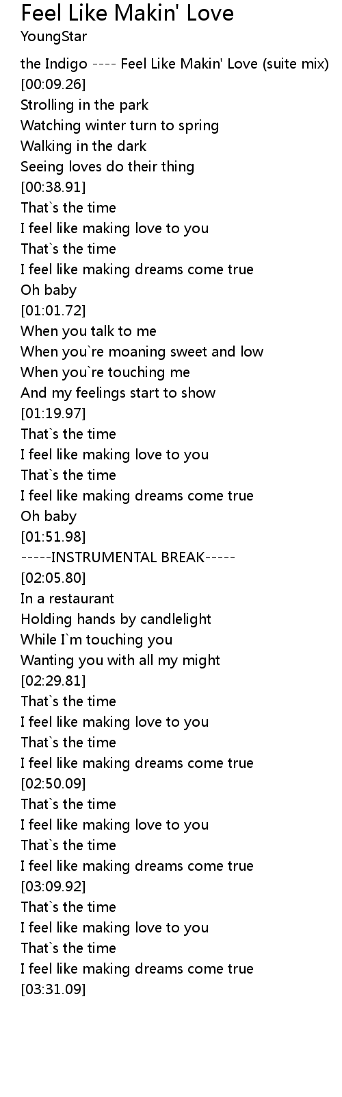 Feel Like Makin' Love Lyrics   Follow Lyrics