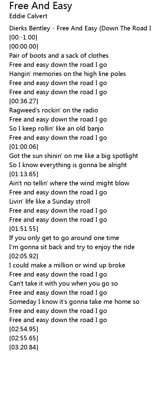free and easy down the road i go lyrics