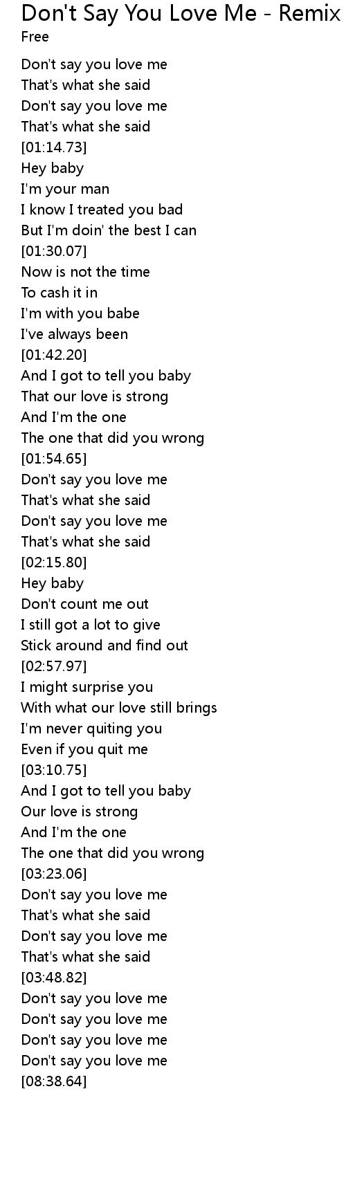 free don t say you love me lyrics