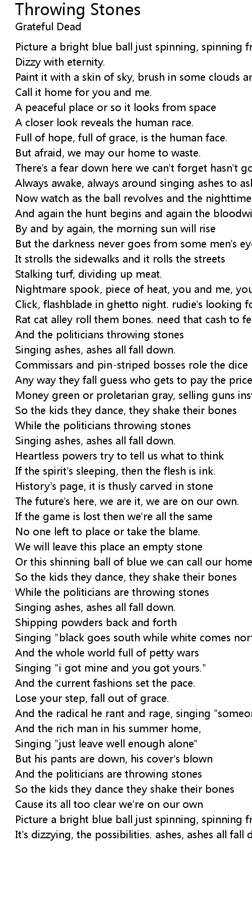 Throwing Stones Lyrics