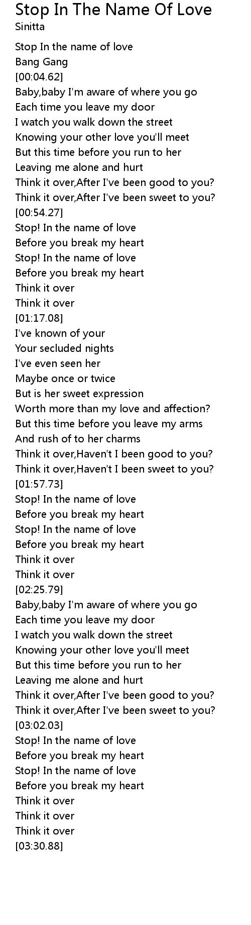 Stop In The Name Of Love Lyrics Follow Lyrics