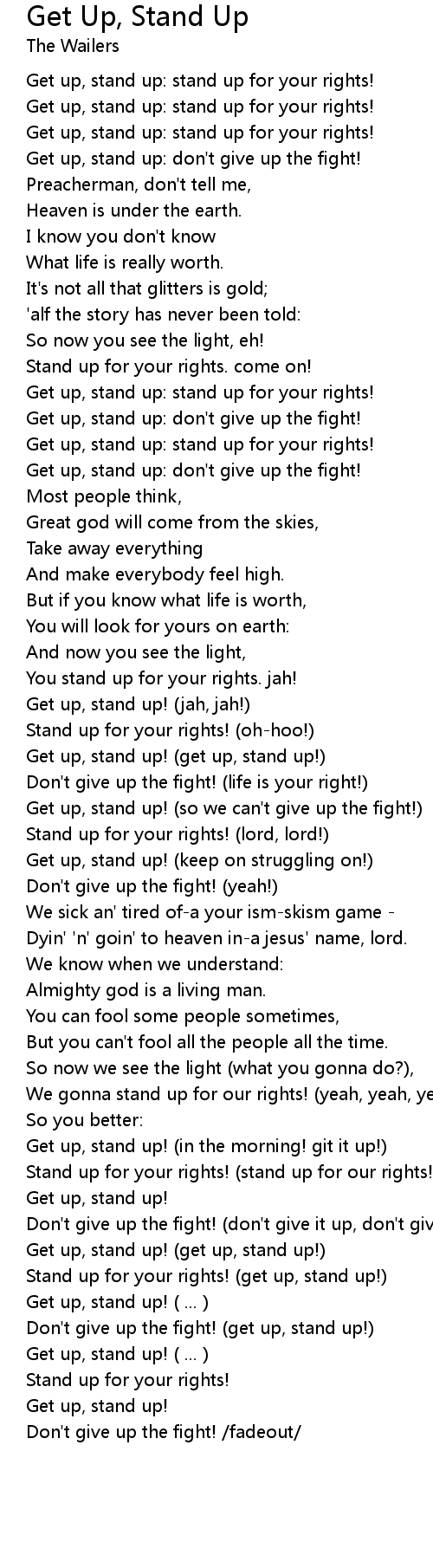 Get Up Stand Up Lyrics Follow Lyrics