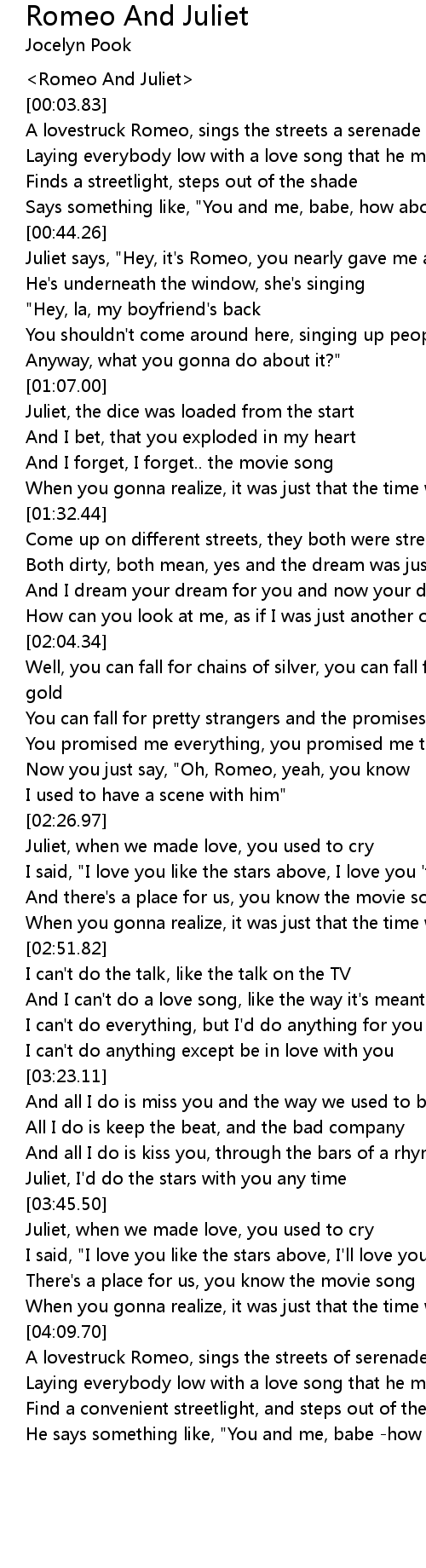 Romeo And Juliet Lyrics Follow Lyrics