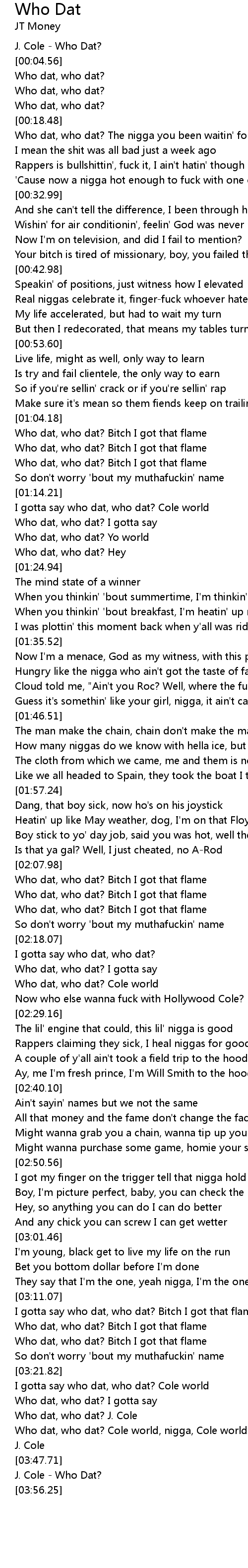 lyrics for who the fuck is dat