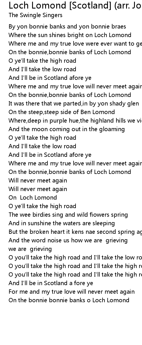 Loch Lomond Scotland Arr Jonathan Rathbone Lyrics Follow Lyrics