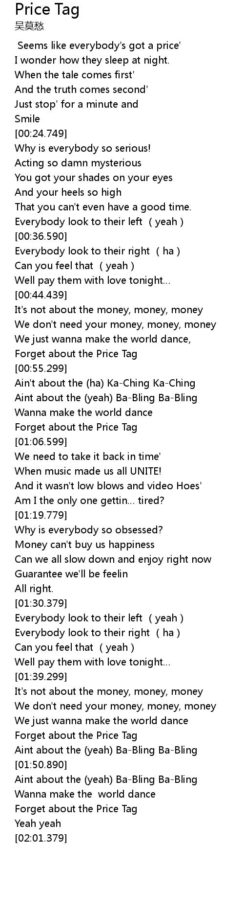 Price Tag Lyrics Follow Lyrics