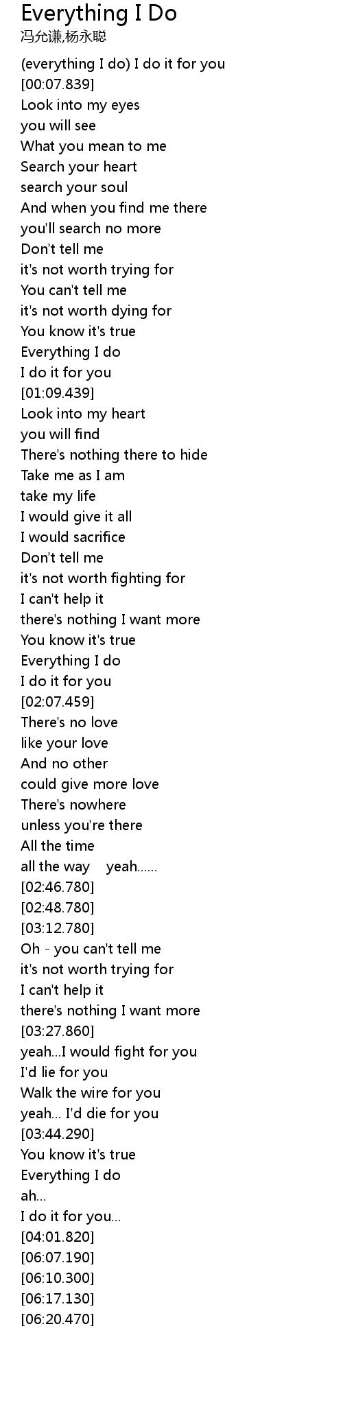 Everything I Do Lyrics Follow Lyrics