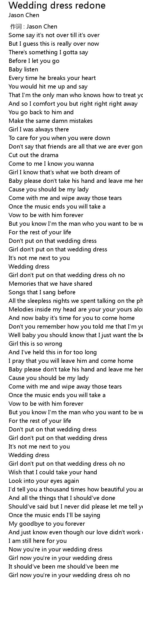 Wedding Dress Redone Lyrics Follow Lyrics