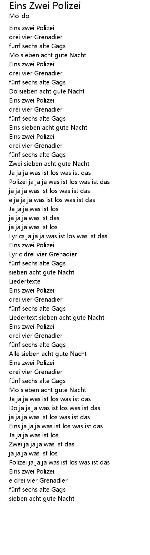 Eins Zwei Polizei Lyrics   Follow Lyrics