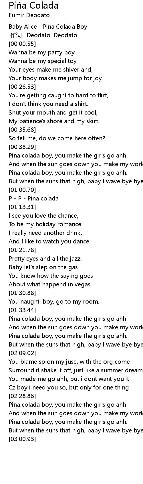 Piña Colada Pi a Colada Lyrics   Follow Lyrics