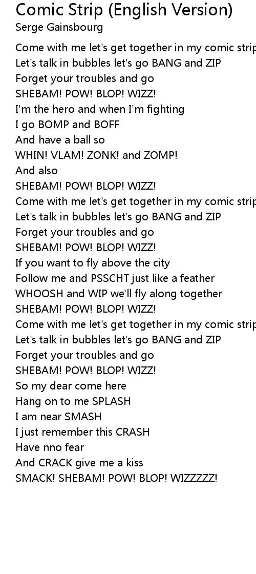 serge gainsbourg comic strip lyrics