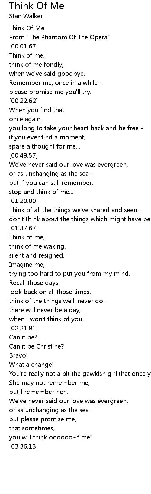 Think Of Me Lyrics   Follow Lyrics