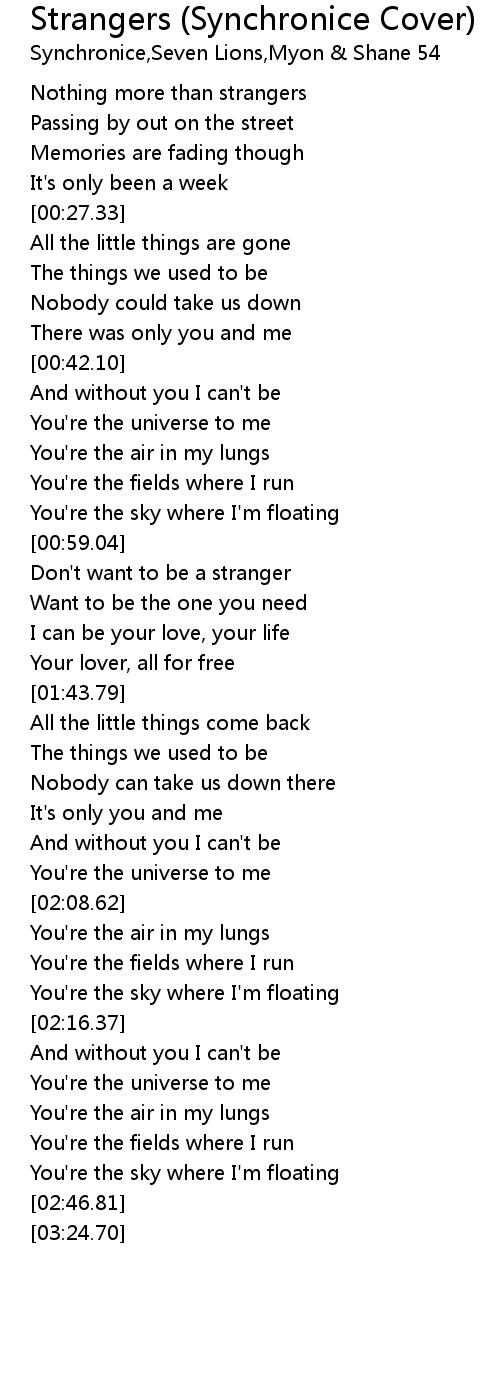 Strangers Synchronice Cover Lyrics Follow Lyrics